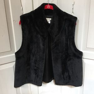 Talbots Black Faux Fur Vest L/XL